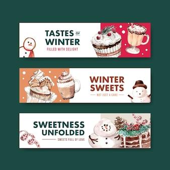 Plantilla de banner con dulces de invierno en estilo acuarela