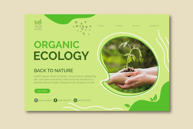 Plantilla de banner de ecología orgánica