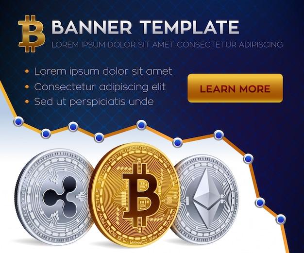 Plantilla de banner editable de criptomoneda. bitcoin, ethereum, ripple. monedas físicas isométricas en 3d. moneda bitcoin dorada y ethereum plateado y monedas rizado. valores