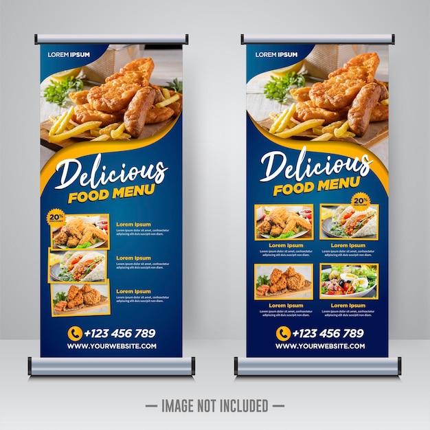 Plantilla de banner enrollable de comida y restaurante