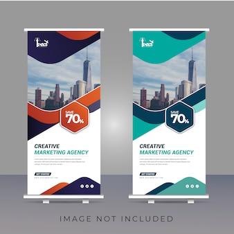 Plantilla de banner enrollable de marketing corporativo