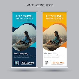 Plantilla de banner enrollable de recorrido y viaje