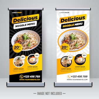 Plantilla de banner enrollable de restaurante de comida