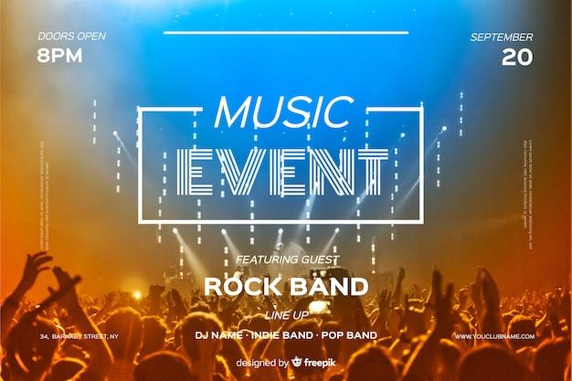 Plantilla de banner de evento musical con fotografía