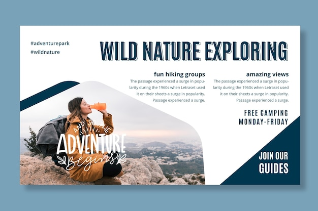 Plantilla de banner de exploración de naturaleza salvaje