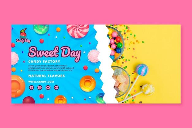Plantilla de banner de fábrica de dulces