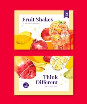 Plantilla de banner de facebook con batidos de frutas