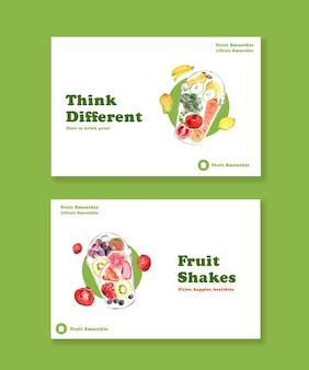 Plantilla de banner de facebook con concepto de batidos de frutas