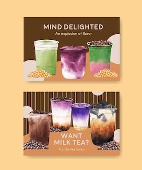 Plantilla de banner de facebook con té con leche de burbujas