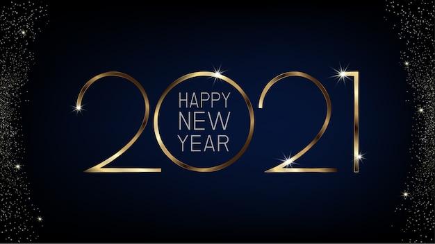Plantilla de banner de feliz año nuevo 2021 con diseño de lujo dorado