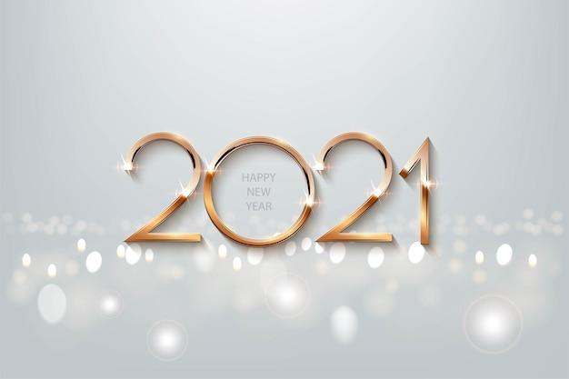 Plantilla de banner de feliz año nuevo, número 2021 con ilustración de brillo dorado con espacio de texto