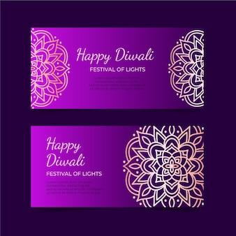 Plantilla de banner de feliz diwali en tonos morados