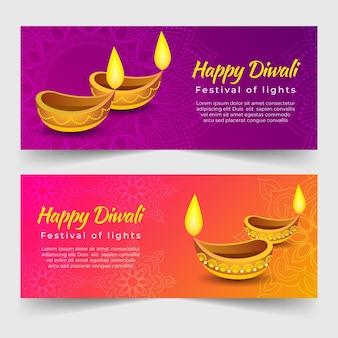 Plantilla de banner de feliz diwali con velas aligeradas