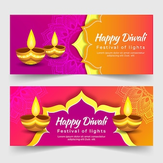 Plantilla de banner de feliz diwali con velas