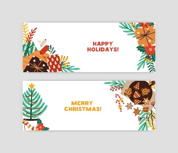 Plantilla de banner de feliz navidad y felices fiestas. tarjeta de felicitación con árbol de año nuevo, cajas de regalo, galletas de jengibre y guirnaldas. celebración de navidad, postal de invierno con bayas de acebo.