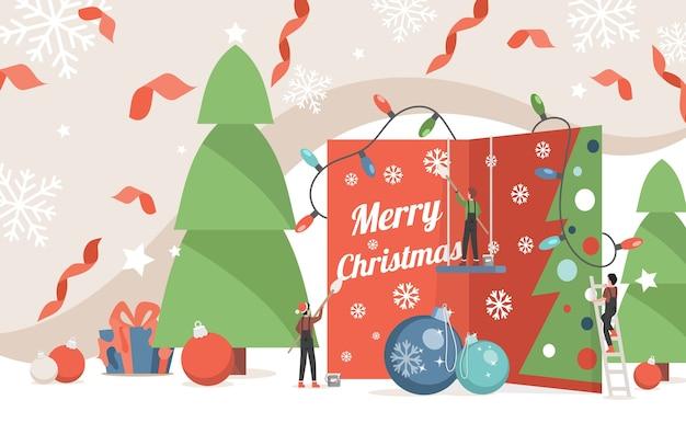 Plantilla de banner de feliz navidad. gente pequeña que adorna la ilustración de la tarjeta de invitación.