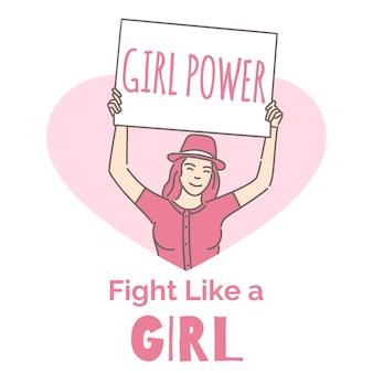 Plantilla de banner de feminismo. activista, poder femenino, lucha como un diseño de tarjeta de contorno de dibujos animados de niña.