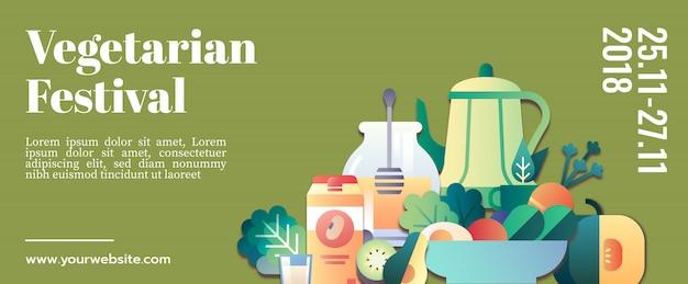 Plantilla de banner de festival vegetariana maqueta