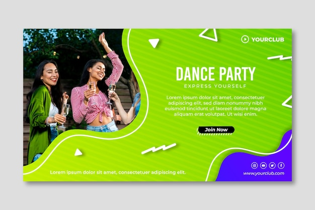 Plantilla de banner de fiesta de baile