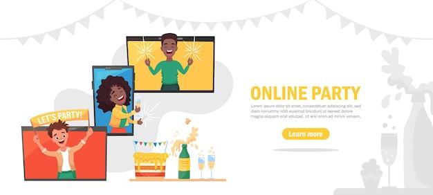 Plantilla de banner de fiesta en línea, amigos felices celebrando un cumpleaños virtual a través de una videollamada. ilustración de dibujos animados plana