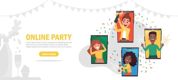 Plantilla de banner de fiesta en línea, amigos felices en su casa celebrando mediante videollamada. ilustración de dibujos animados plana