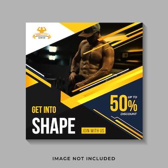 Plantilla de banner de fitness de redes sociales