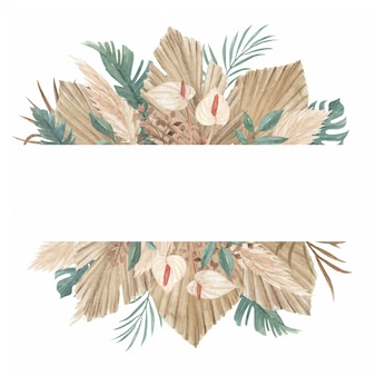 Plantilla de banner floral de hierba de pampa, hojas de palma secas y selva tropical