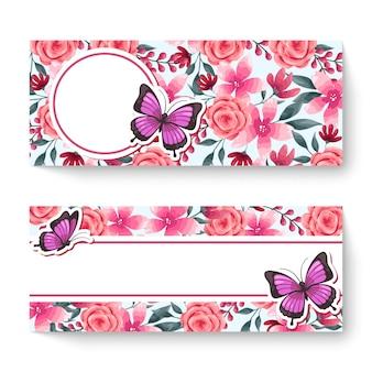 Plantilla de banner floral de primavera con flores de colores.