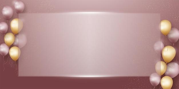 Plantilla de banner de fondo para cumpleaños con vasos cuadrados