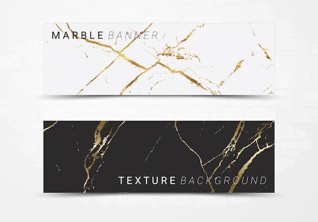 Plantilla de banner de fondo de textura de mármol blanco y negro.