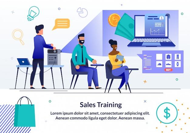 Plantilla de banner de formación comercial de ventas en línea