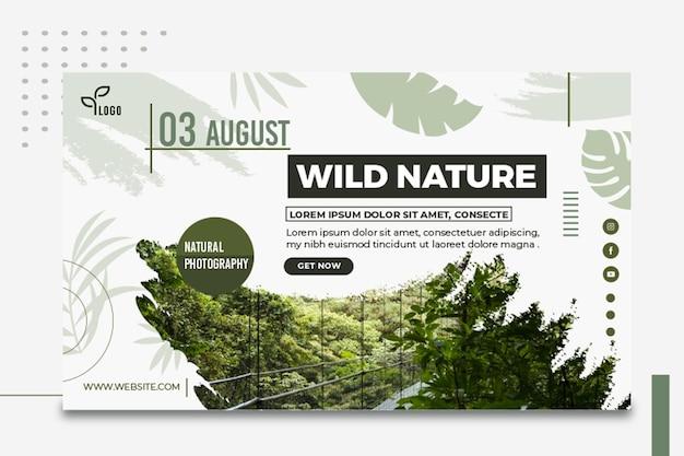 Plantilla de banner de fotografía de naturaleza salvaje