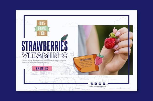 Plantilla de banner de fresas bio y saludables
