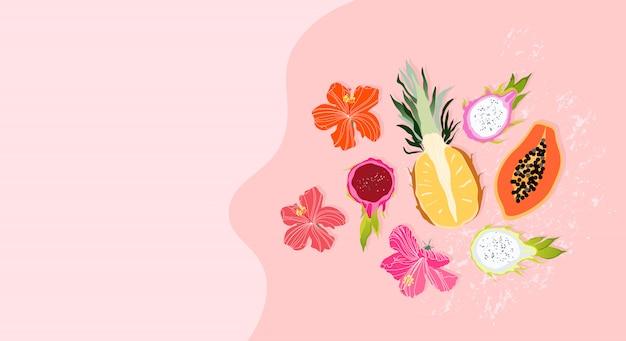 Plantilla de banner de fruta de sumer. diseño de banner web de color pastel suave con elementos dibujados a mano. piña cortada en dos partes, fruta del dragón y flores. concepto de verano. diseño moderno para uso web.