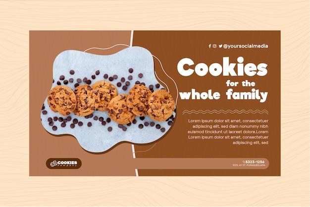Plantilla de banner de galletas de chocolate