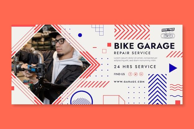 Plantilla de banner de garaje de bicicletas