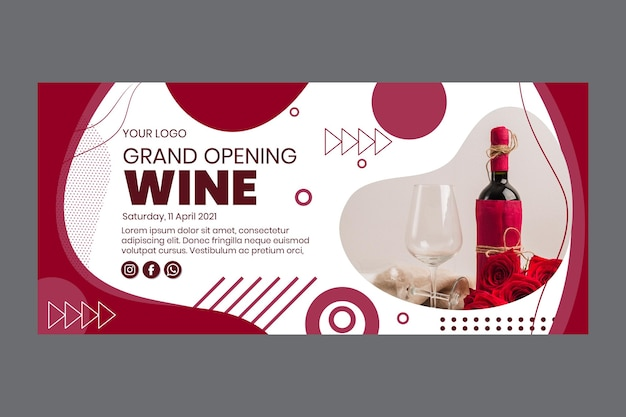 Plantilla de banner de gran inauguración de vino
