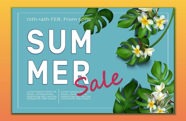 Plantilla de banner de gran venta de verano con marco de hojas tropicales y flores de frangipani