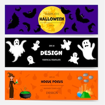 Plantilla de banner de halloween para texto con atributos de vacaciones. estilo de dibujos animados ilustración vectorial