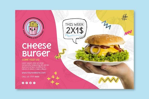 Plantilla de banner de hamburguesa con queso de comida americana