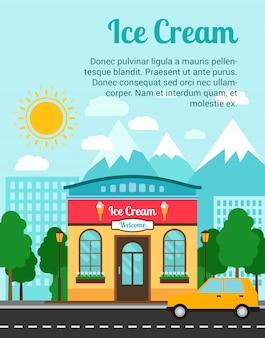 Plantilla de banner de helado con edificio de la tienda