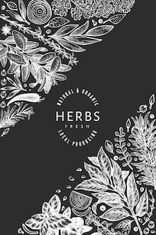 Plantilla de banner de hierbas culinarias.