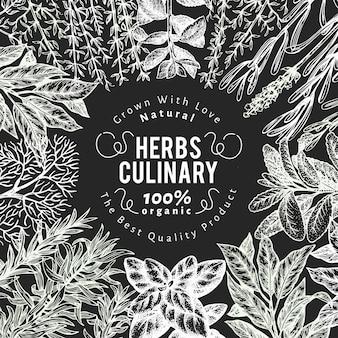 Plantilla de banner de hierbas y especias culinarias.