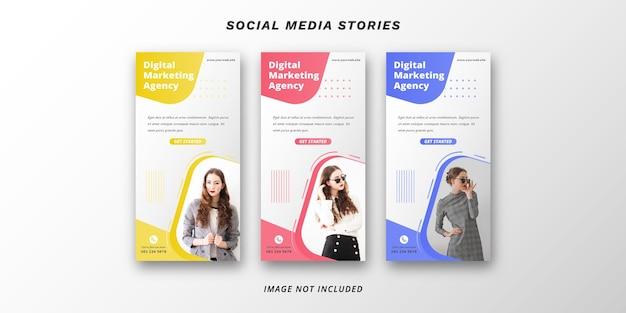 Plantilla de banner de historias de redes sociales de marketing digital