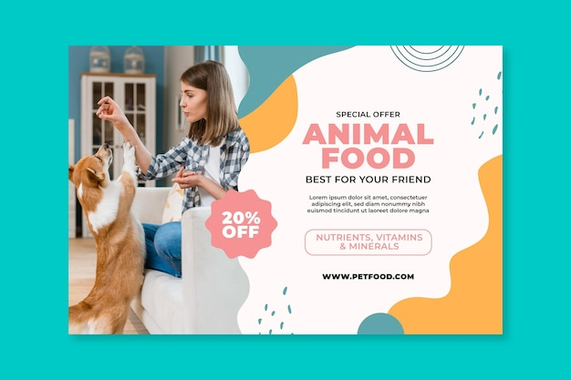 Plantilla de banner horizontal de alimentos para animales