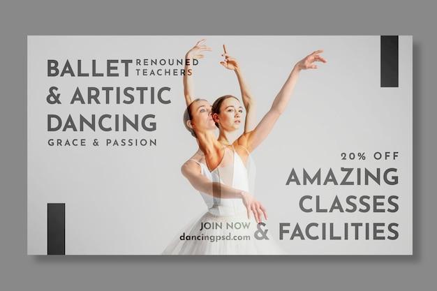 Plantilla de banner horizontal de bailarina de ballet