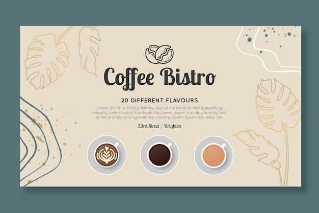 Plantilla de banner horizontal de bistró de café