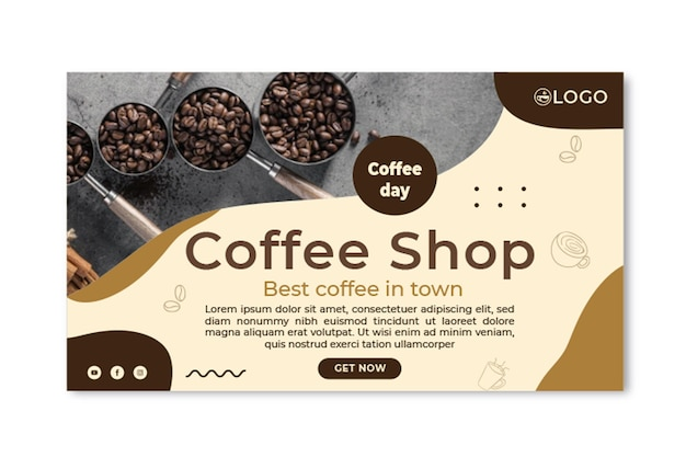 Plantilla de banner horizontal de cafetería