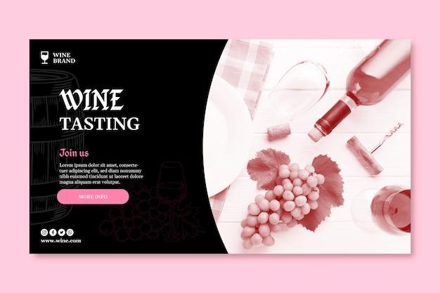 Plantilla de banner horizontal para cata de vinos.