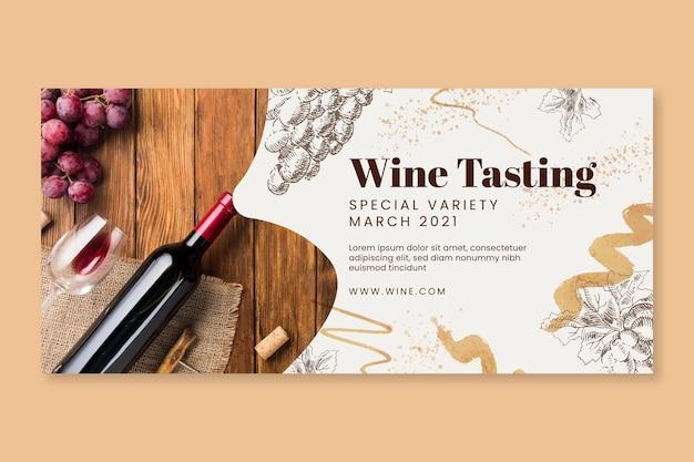Plantilla de banner horizontal de cata de vinos